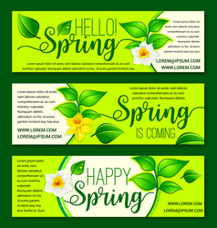 happy spring springtime flowers banners vector image vector image