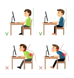 Incorrect and Correct back sitting position vector image
