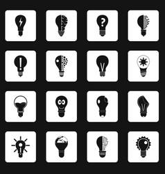 Lamp logo icons set squares vector