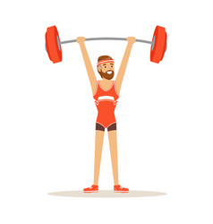 male athlete character holding barbell on the vector image