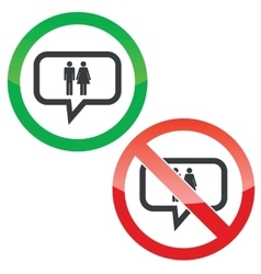 Man woman message permission signs vector