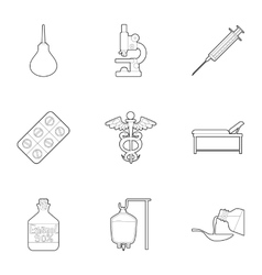 Medicine accessories icons set outline style vector