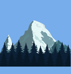Mountain landscape with forest and rocks vector