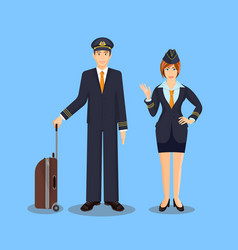 Pilot with brown suitcase and stewardess waving vector