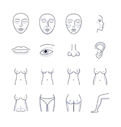 Plastic Surgery Icons Thin Line Set vector image