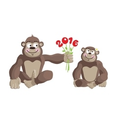 Postcard Year of the Monkey 2016 vector image vector image