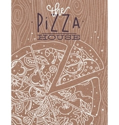 Poster pizza wood brown vector image