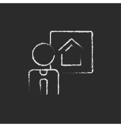 Real estate agent icon drawn in chalk vector image vector image