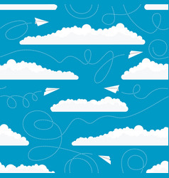 seamless pattern with white paper airplanes and vector image vector image