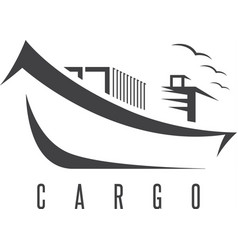 simple icon of ship with containers design vector image
