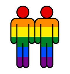 Two man lgbt movement rainbow flag vector