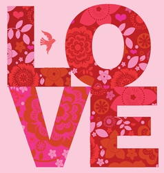valentine day love message floral poster vector image