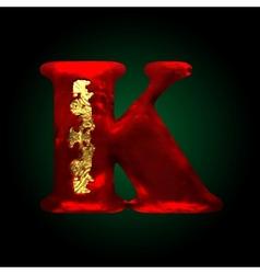 Velvet k letter with gold vector