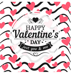 Vintage valentines day card sign hearts and hand vector