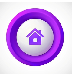 Violet plastic home round button vector image