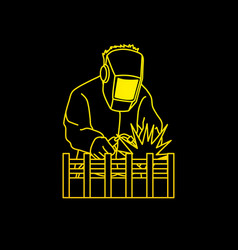 Welding with sparks welder working vector