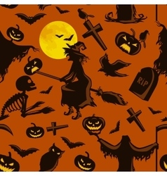 witch on a broomstick under full moon with vector image