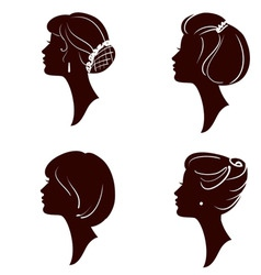 women and girl silhouettes vector image