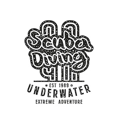 Scuba diving emblem in retro style vector image