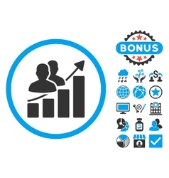 Audience Growth Chart Flat Icon with Bonus vector image