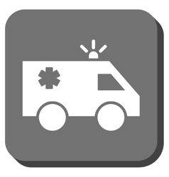 Emergency car rounded square icon vector