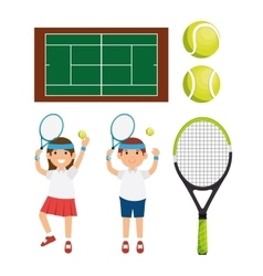 Tennis player character racket balls court vector