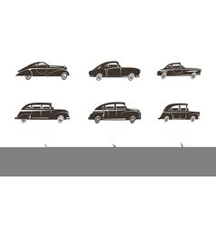 Retro Car Black Icons Collection vector image