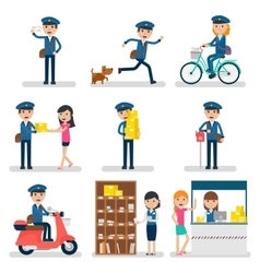 Postman character collection vector