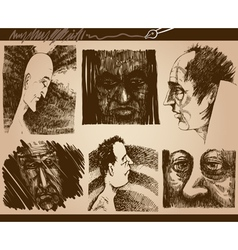 People faces sketch drawings set vector