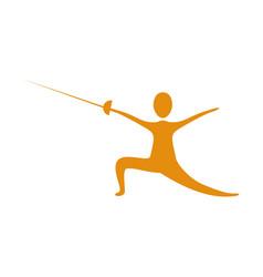people practicing fencing icon vector image