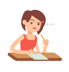 Crazy worried young woman student in panic on exam vector