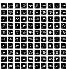 100 communication icons set grunge style vector image
