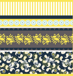 Folk floral blue and yellow seamless vector