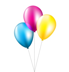 Three balloons isolated on white vector image