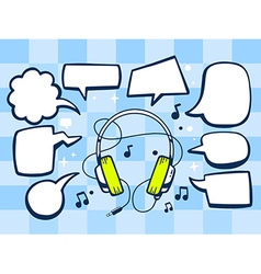 Headphones with speech comics bubbles on vector