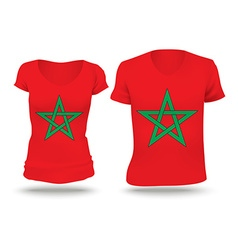 Flag shirt design of morocco vector