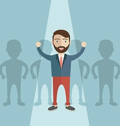 Businessman of leader standing out of the crowd vector