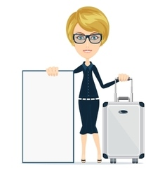 Woman travelling and having with a poster vector