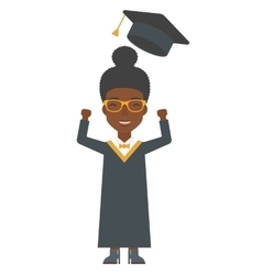 Graduate throwing up her hat vector
