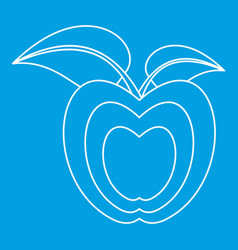 Apple with leaves icon outline style vector