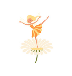 Beautiful blond fairy dancing on daisy flower vector