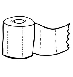 black and white freehand drawn cartoon toilet vector image
