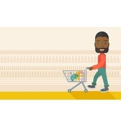 Black male shopper pushing a shopping cart vector