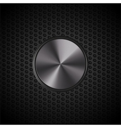 black metallic button on mesh vector image vector image