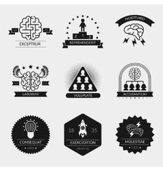 brain logo set and creativity badges vector image vector image