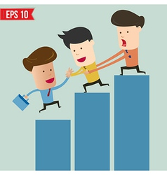 Cartoon business man helping team climbing graph - vector image