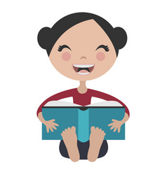 Cartoon girl reading fun book vector