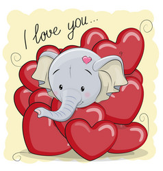 cute cartoon elephant in hearts vector image