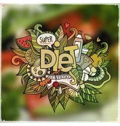 Diet hand lettering and doodles elements emblem vector image