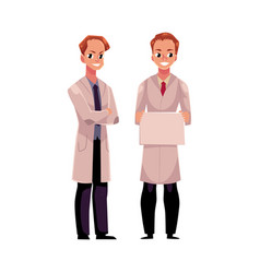 Doctors in medical coats holding blank sign with vector